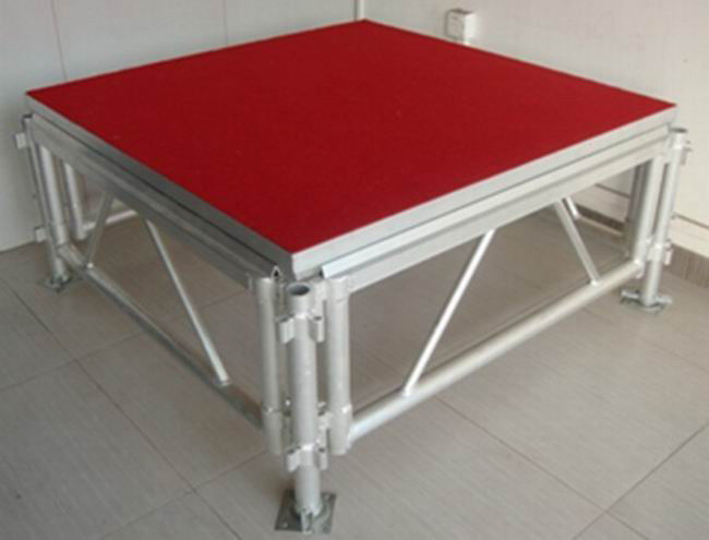 Red Plywood Movable Stage Platform Simple Stage , Corrosion Resistance