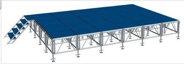 Movable Stage Platform Blue Outdoor / Truss Lifts Crank Stands